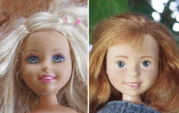 """Oyuncak Bebeklerin Makyajlarını Silip """"Doğal"""" Kızlara Dönüştüren Sanatçı Bir Anne"""